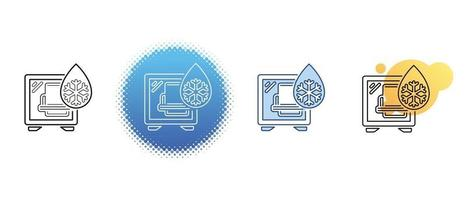 This is a set of contour and color icons for cooling the computer's system unit vector