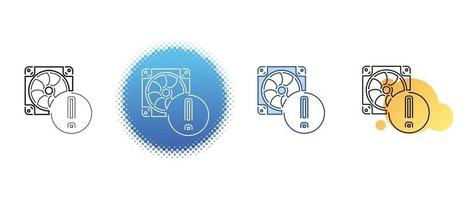 This is a set of contour and color icons of the computer cooler vector