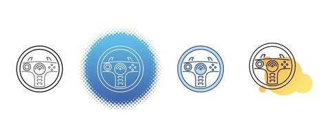 This is a set of contour and color icons of the game steering wheel for the computer vector