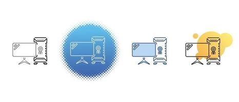 This is a set of contour and color icons for the monitor and the computer system unit vector
