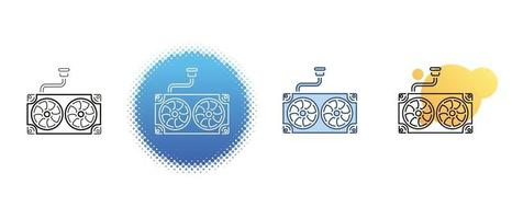 This is a set of contour and color icons of the computer cooling system vector
