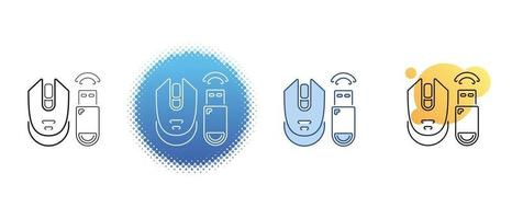 This is a set of contour and color icons for a wireless computer mouse and a USB adapter vector