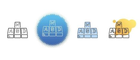 This is a set of contour and color icons for WASD keyboard buttons vector
