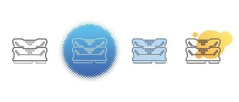 Este es un conjunto de iconos de contorno y color de la memoria RAM de la computadora. vector