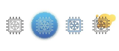 This is a set of contour and color icons for cooling a computer processor vector
