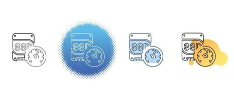 This is a set of contour and color icons for measuring the speed of a solid-state drive vector