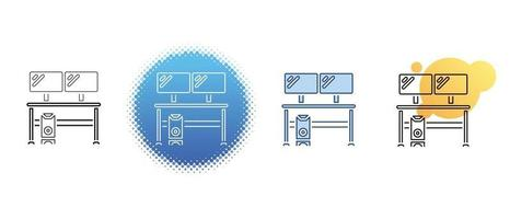 This is a set of contour and color icons for a desktop computer with two monitors vector