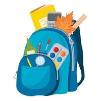 Vector image of a blue backpack with school supplies. The concept of school education.