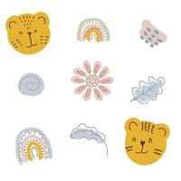 A set of elements in pastel colors tiger muzzles and rainbows vector