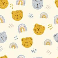 Multi-color seamless pattern of tiger muzzles and rainbows vector