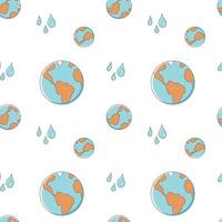 Seamless pattern with planet Earth and water drops on a white background. Vector endless texture in cartoon style