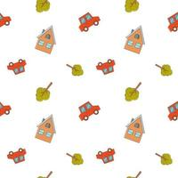 Seamless children's pattern with a red car, a tree and a house on a white background. Vector endless texture for kid's design