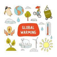 icono de calentamiento global con texto aislado sobre fondo blanco. iconos de animales árticos, termómetro, molino de viento, sol, reciclaje, comida ecológica, ahorrar energía, ciclismo. ilustración vectorial vector