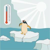 el pingüino se para sobre un témpano de hielo. concepto de calentamiento global y cambio climático. el termómetro muestra una temperatura alta. ilustración vectorial vector