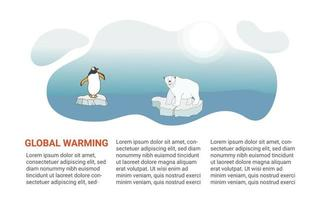 Web banner template about global warming and climate change. A polar bear with and a penguin swims on an ice floe in the Arctic. Vector illustration