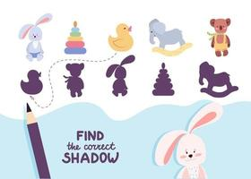 Find the correct shadow. Cute nursery toys. Educational game for kids. Collection of children's games. Vector illustration in cartoon style