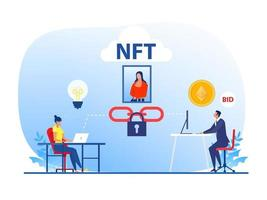 Non fungible token sell and buy art on market place illustration landing page for websites,blockchain concept  vector