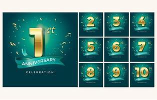 Set of Anniversary Emblems vector