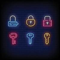 Lock Symbol Neon Signs Style Text Vector