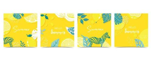 Collection of summer background set with leaves,lemon,zebra on yellow background vector