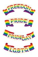 Four Style Ribbons of Rainbow Flag Banner with Words for the LGBT Activity. vector