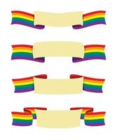 Four Style Ribbons of Rainbow Flag Banner with Copy Space for Words for the LGBT Activity. vector