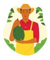 Asian Man Farmer Hold the Durian from Harvest in Tropical Fruit Garden. vector