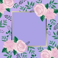 Flat Rose on Purple Background vector