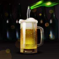 Realistic beer pouring in to a glass vector