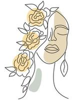 Female face with closed eyes vector line art