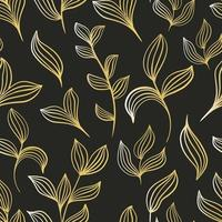Hand painted golden botanical sheets seamless pattern Vector