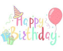 Happy birthday handwritten text vector illustration