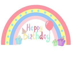 Happy birthday handwritten text on rainbow background vector illustration