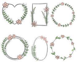 Set of botanical frames vector hand-drawn graphics