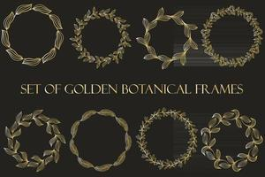 A set of golden botanical frames hand painted Vector