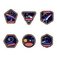 Various total eclipse badge vector