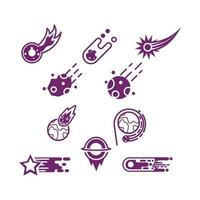 Set of meteor icons in various style vector