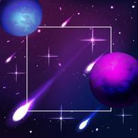 Fondo de planetas espaciales con meteoritos ardiendo. vector