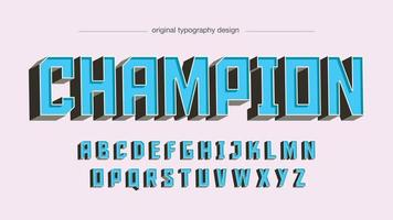 Blue 3D Uppercase Sports Typography vector