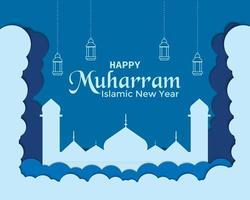 Happy Muharram Cloud Mosque Lantern Vector