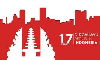 Indonesia Independence Day City Temple Landscape Vector
