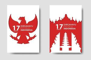 Indonesia Independence Day With Landmark Papercut Bundle vector