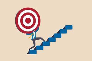 Esfuerzo y ambición para alcanzar la meta o el objetivo, el desafío para ganar un objetivo más alto, la misión comercial o el concepto de carrera, el hombre de negocios fuerte lleva un gran objetivo en su hombro caminando por las escaleras. vector