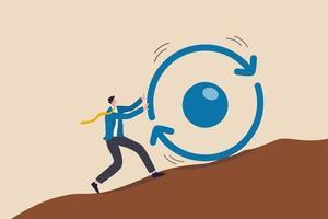 La consistencia es clave para el éxito, la estrategia empresarial para entregar repetidamente el trabajo realizado, el desarrollo personal o el concepto de crecimiento profesional, el empresario empuja el símbolo del círculo de consistencia cuesta arriba con todo su esfuerzo. vector