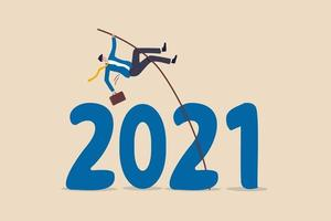 Overcome obstacle or solve business problem to pass hard time year 2021, pandemic causing economic recession concept, success businessman pole vault jumping over year number 2021. vector
