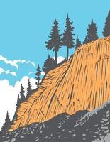 Rock Formation of Columnar Basalt Called Devils Postpile in Devils Postpile National Monument near Mammoth Mountain California United States WPA Poster Art vector