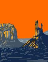 Mesas Buttes and Towers in Valley of the Gods Formerly Part of Bears Ears National Monument Located North of Monument Valley near Bluff Utah USA WPA Poster Art vector