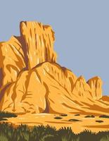 Narrow Faulted Mountain Chains and Flat Arid Valleys or Basins Within Basin and Range National Monument in Lincoln and Nye County Nevada USA WPA Poster Art vector