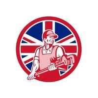 plumber holding wrench with UK Union Jack Flag mascot vector art