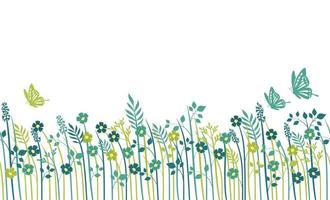 Springtime Field Seamless Background Illustration With Plants, Butterflies, And Text Space, Vector Illustration. Horizontally Repeatable.
